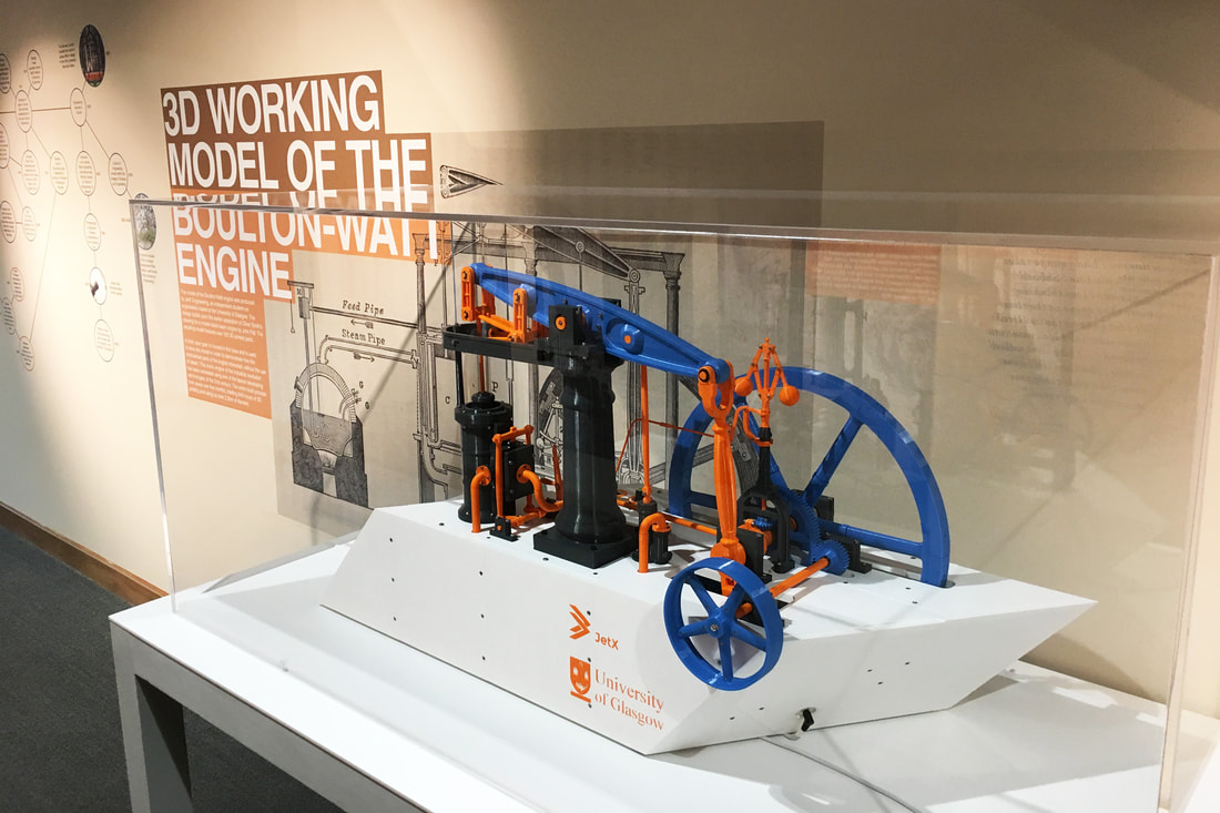 3D-printed model in the library exhibition